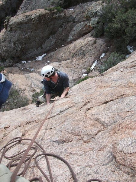Rock Climbing Photo: nearing the top of pitch 1.  photo by steve curtis...