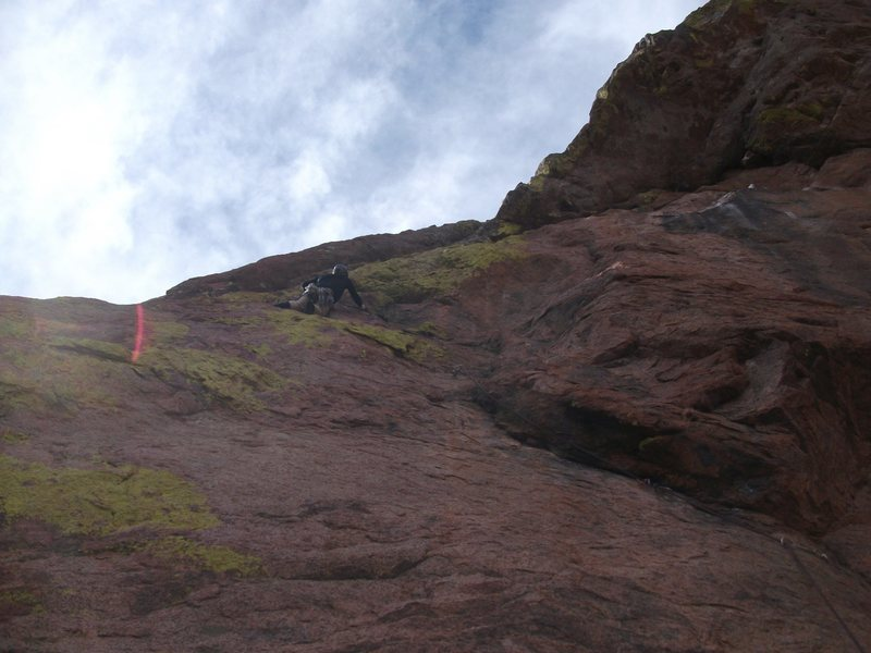 Rock Climbing Photo: good overview of the crux pitch, steve curtis lead...