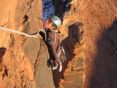 Rock Climbing Photo: Matt on the final few moves of Infared with Dolomi...