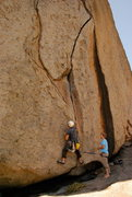 Rock Climbing Photo: Start of route.  Flake is where the crack meets th...