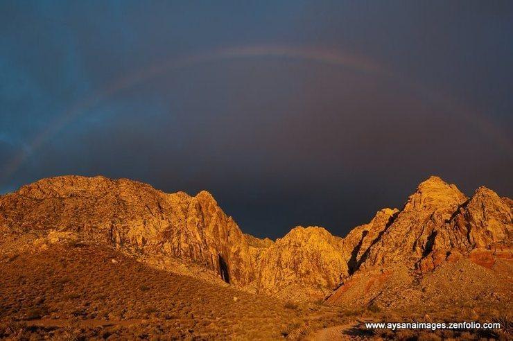 rainbow over black velvet canyon, Red Rocks, Nevada