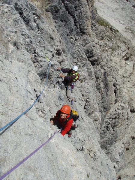 Mid way up Piz da Lec SE Face route