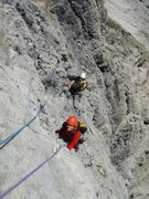 Rock Climbing Photo: Mid way up Piz da Lec SE Face route