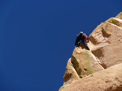 Rock Climbing Photo: Mike Leonard on the last pitch variation on Too To...