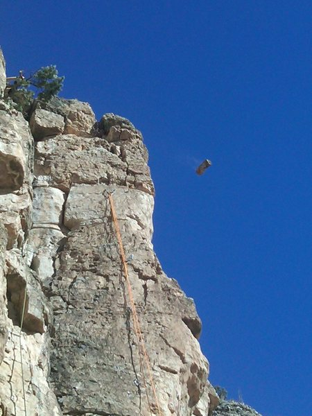 Rock Climbing Photo: Trundeling from the top of Poncho.  This football-...