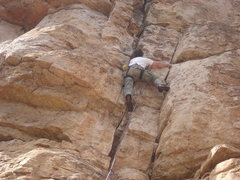 Rock Climbing Photo: Working the double crack system of New Comer.  Pho...