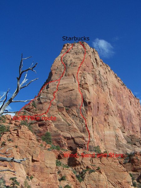This is an educated guess of the West Face route.