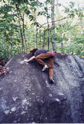 Rock Climbing Photo: The delicate topout.  Also finish to the problem H...
