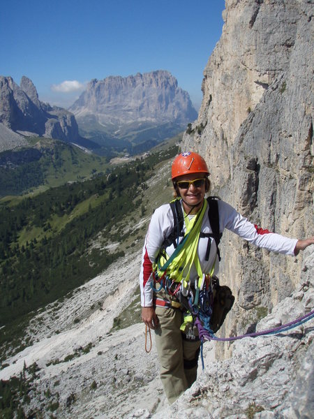 Rock Climbing Photo: Easy climbing on ramps mid route. Gardena pass and...