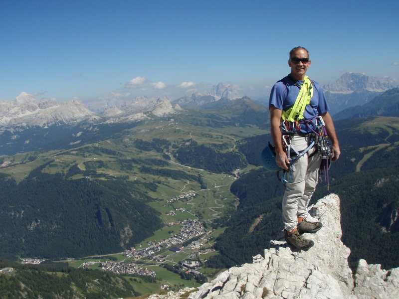Looking out to the distance and down to Corvara from the Summit