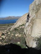 Rock Climbing Photo: Eric Odenthal at the second old 1/4 inch bolt on 1...