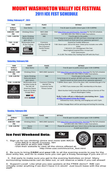 Ice Fest Events Schedule!  Go to the Ice Fest Blog to view it, click on it, and print it up!