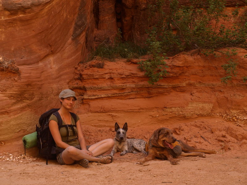 Possum, Guthrie and Annie taking a break in Peria Canyon
