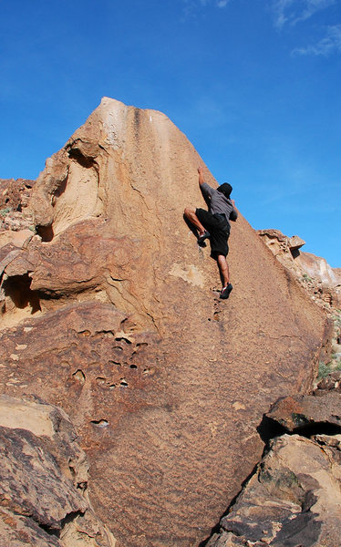 Rock Climbing Photo: Dan Sebastian starting the crux of 'Big Slab'.