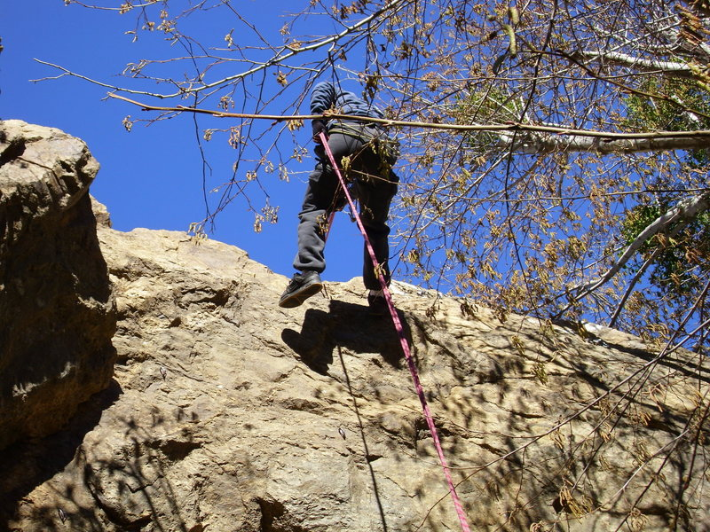 rappeling off east face