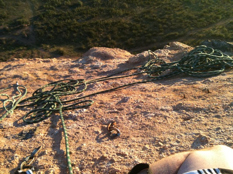 Rock Climbing Photo: The 3rd belay station at the top. Check out the ol...