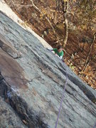 Rock Climbing Photo: Looking down the 1st pitch.  A little run out, but...