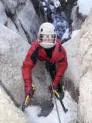 Rock Climbing Photo: The crux moves on the top of the second pitch. Lyn...