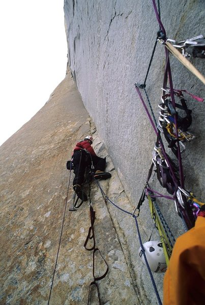 Rock Climbing Photo: Bolts on Great Trango Tower, placed by Alex Lowe, ...