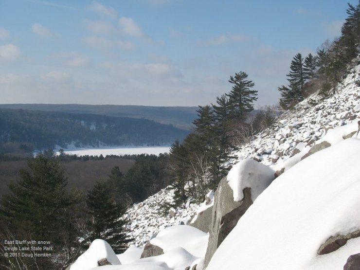 East Bluff boulderfield under snow, 2011