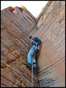 Rock Climbing Photo: David Bloom at the start of the crux pitch of Made...