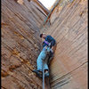 David Bloom at the start of the crux pitch of Made In The Shade in Sedona, AZ.