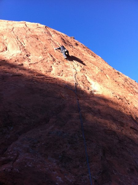 Rock Climbing Photo: Just below the crux on Zodian Flakes.  Fun route.