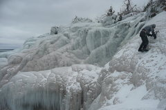 The ice encrusted backside of little presque isle