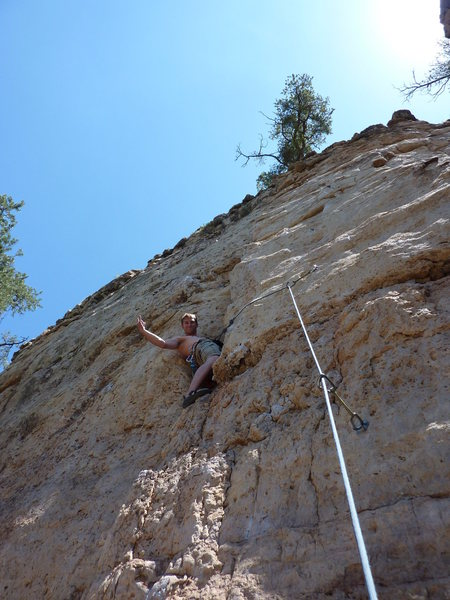 Aerial Solution - don't go left like my buddy in this photo. Stay right and the climb is short, fun, and pretty pumpy!