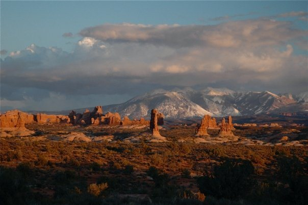 Rock Climbing Photo: Arches National Park and the La Sal Mountains.   P...