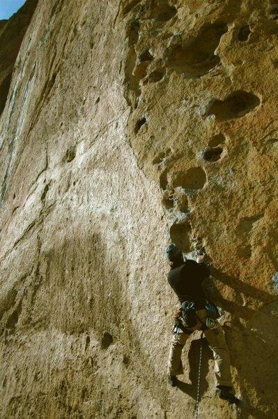 Rock Climbing Photo: Climbing the large huecos at the beginning of 9-Ga...