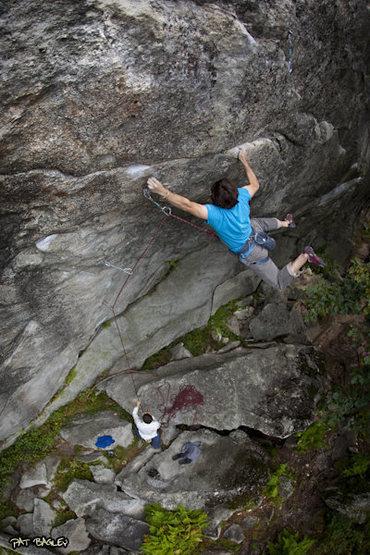 "Rock Climbing Photo: USM student flying on the ""5.12b"" crux o..."