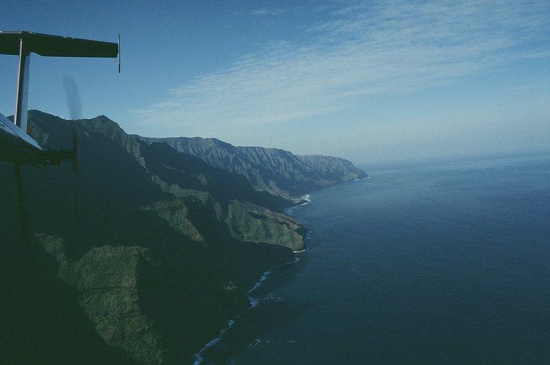 Rock Climbing Photo: The Napali Coast from a Hughes 500, sans doors.