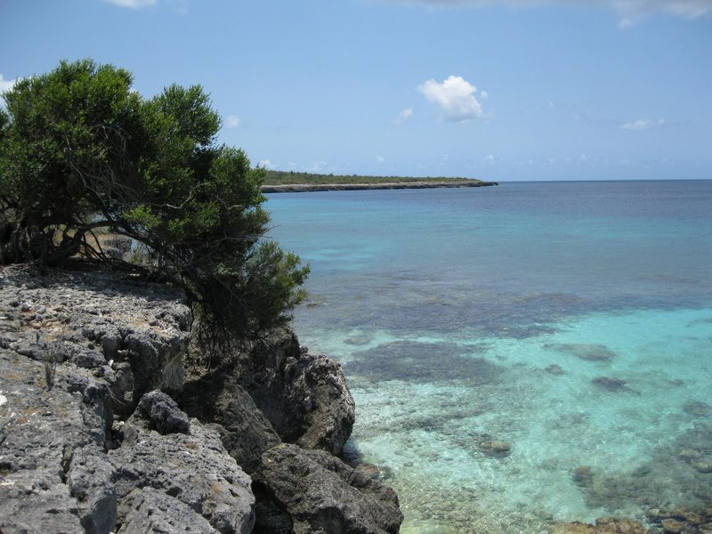 View from the top of the cliff above more secluded beach bouldering . . . Bonaire
