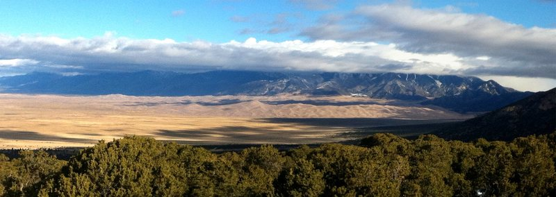 The Great Sand Dunes from the Zapata Falls trailhead parking area.