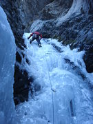 Rock Climbing Photo: Climbing the left side of the main flow.  January ...