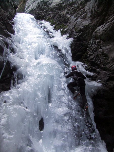Rock Climbing Photo: David Hertel climbing the right side of the falls ...