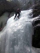 Rock Climbing Photo: David Hertel climbing the smaller falls to the lef...