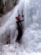 Rock Climbing Photo: A short section of steep ice at the start of the r...