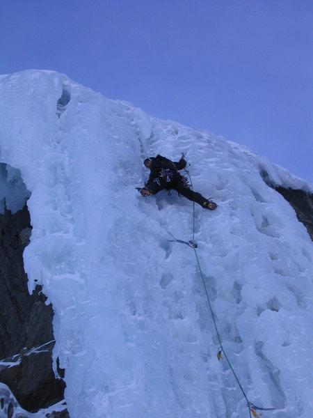 Climbing the semi-hacked up pillar.