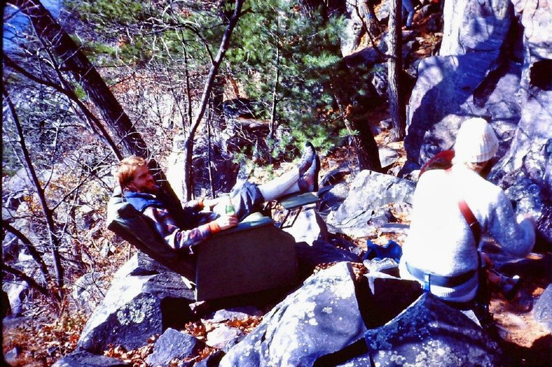 Best Belay Seat Ever at Devil's Lake.<br> <br> One day (early 80's)we carried a Lazy Boy recliner up to the East Bluffs.  I was all for leaving it up there but much to our credit we carried it back down at the end of the day.  That's Jeff Kane in the chair.