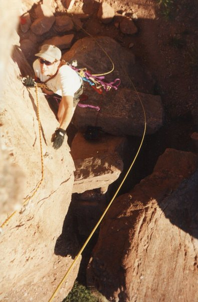 Richard following Dano up Forrest Roof about 1980. Fun aid climb. Photo by Dano