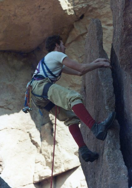 Richard warming up the Royal Robbins boots before climbing Forrest Roof 1976.