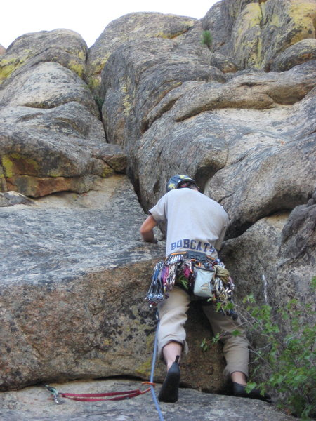Rock Climbing Photo: Josh 1/3 the way up his own Trident, Josh's Triden...