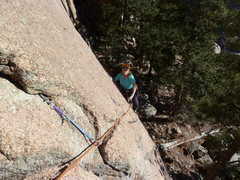 Rock Climbing Photo: About to enter the crux after unclipping the bolt.