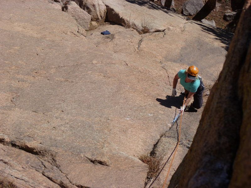 Rock Climbing Photo: On the 9+ slab and thin crack section of the secon...