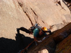Rock Climbing Photo: In the awesome dihedral of the upper 2nd pitch.