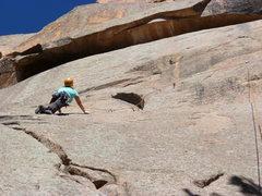 Rock Climbing Photo: On the crux slab.