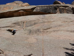 Rock Climbing Photo: Going up the left-facing dihedral near the top.  B...