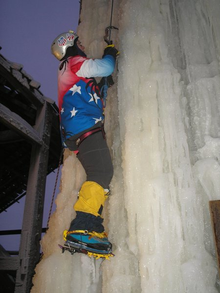 Captain America climbs the frozen silo.
